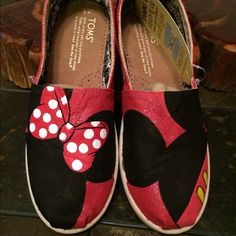 Youth Mickey and Minnie Mouse Toms shoes Hand painted custom Toms- $65.00(these only for this price) taking custom orders! Let me know if you are interested in having shoes made. (Custom orders vary in price) TOMS Shoes Flats & Loafers
