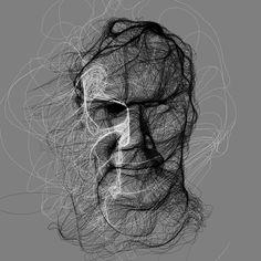 Floccular Portraits - Interactive Art by Golan Levin and Collaborators Generative Kunst, Code Art, Demi Human, Continuous Line Drawing, Unique Faces, Interactive Art, Chiaroscuro, Cool Artwork, Amazing Artwork