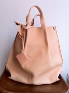 bag nude leather leather bag by TinyCarmen