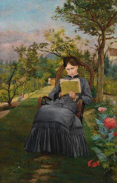 Frédéric Bazille, Therese Lisant dans le Parc de Meric - 1867 on ArtStack #frederic-bazille #art