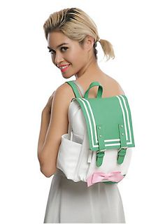 Jupiter's pink and green iconic uniform in mini backpack form has enough room for all your Sailor Moon merchandise. Includes faux buckle button snaps, two zipper pouches water bottle holders and adjustable straps. x Polyurethane Imported Sailor Moon Outfit, Sailor Moon Cosplay, Sailor Moon Art, Geek Girl Fashion, Teen Fashion, Sailor Jupiter, Sailor Mars, Sailor Moon Merchandise, Sailer Moon