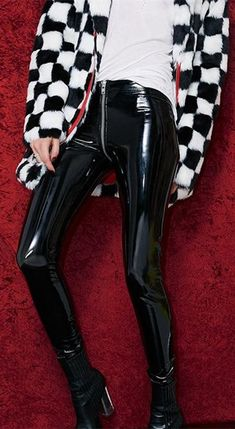 Sexy Zipper Black/red Xmas Patent Leather Skinny Pants