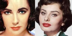 Liz Taylor and Sophia Loren, with defined brows and red lips
