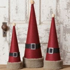Santa Hat Cone Decor, Set of the cone from Dollar Tree, Red wrapping paper, fur ribbon, and black ribbon.rustic home decor canton ohioChristmas Movies At The Alabama Theater. Cone Trees, Cone Christmas Trees, Christmas Wreaths, Christmas Ornaments, Yarn Trees, Outdoor Christmas Decorations, Rustic Christmas, Vintage Christmas, Christmas Holidays