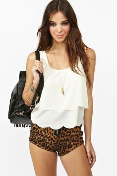 Scalloped Cutout Tank in Cream