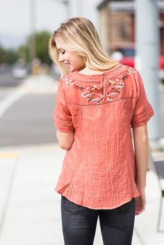 2c2759f05a Mindy Embroidered Top in Sunset My Sisters Closet, Color Blocking, Floral  Tops, Top
