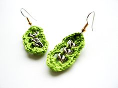 crochet earrings green