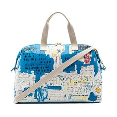 Alice + Olivia Basquiat Ascent Weekender Bag ($355) ❤ liked on Polyvore featuring bags, handbags, snap bag, white bag, weekender bag, overnight bag and alice olivia bag