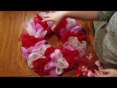 VALENTINES DAY WREATH TUTORIAL *DOLLAR TREE DECO MESH* - YouTube