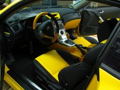Hyundai Genesis Coupe 2010 yellow and black and grey interior two tone tiburon tuscani