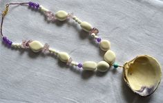 Bold Seashell Drop Necklace with Matte White Painted Jade, Carved Shell, Lavender Ice Flake Quartz, and Purple Quartz