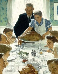 "This painting is one of a series called ""The Four Freedoms"", done by Norman Rockwell in 1943. This painting - ""Freedom from Want"" - has become an iconic image."