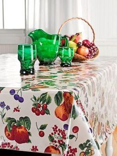 Genuine Oilcloth Tablecloths Blue Check, Holly Berry, Foliage, Floral  Lattice, Songbird, White. | Kitchen Wish List | Pinterest | Oilcloth And  Kitchens