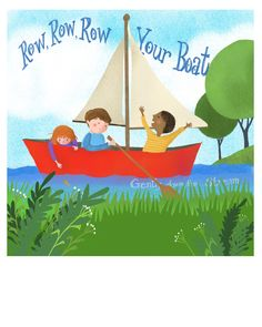 Row your Boat Boat Cartoon, Rowing, Marketing And Advertising, The Row, Digital Prints, Handmade Items, Children, Illustration, Etsy
