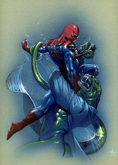 #Spiderman #Fan #Art. (Spider-Man vs The Lizard) By: Gabrielle Dell Otto. (THE * 5 * STÅR * ÅWARD * OF: * AW YEAH, IT'S MAJOR ÅWESOMENESS!!!™)[THANK Ü 4 PINNING!!!<·><]<©>ÅÅÅ+(OB4E)