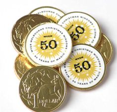 Gold Australian $1 Chocolate Coin with space for your custom printed sticker with your #promotional logo or message