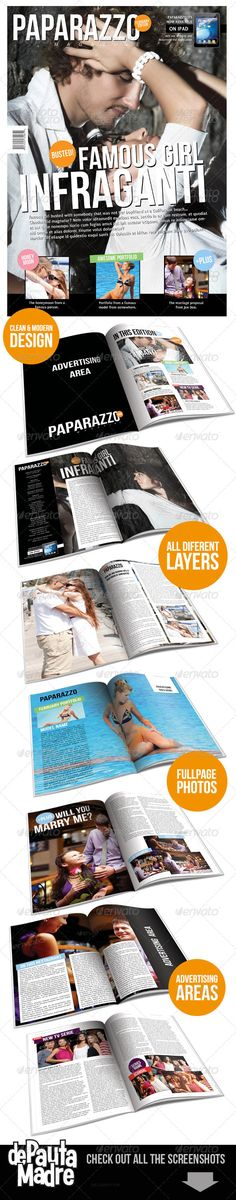 Paparazzo Magazine Indesign Template — InDesign INDD #modern #famous • Available here → https://graphicriver.net/item/paparazzo-magazine-indesign-template/1516301?ref=pxcr