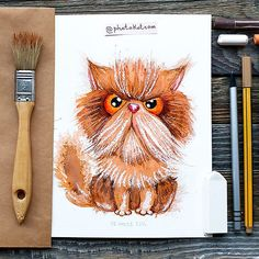 Drawing from instagram @photokotcom #иллюстрация #cat #рисунок #drawing #illustration #sketch #кот #character #photokot_com #перс #watercolor #акварель