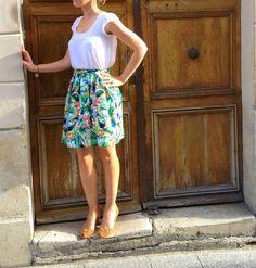 Tropical Skirt : tuto jupe elastiquée dans le dos.