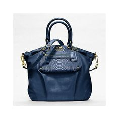Coach Madison Embossed Mixed Exotic Pocket Lindsey Satchel ($698) ❤ liked on Polyvore featuring bags, handbags, bolsas, coach, purses, leather purse, leather handbags, leather man bag, man bag and coach handbags