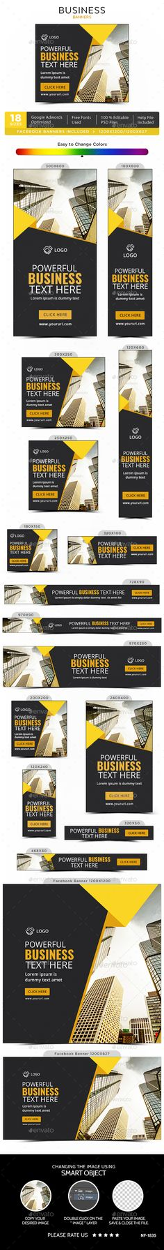 Business Banners — Photoshop PSD #social media #gif banner • Available here → https://graphicriver.net/item/business-banners/20199717?ref=pxcr