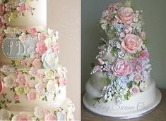 English garden wedding cakes by Cake Maison left, Love in a Mist by Amy Swann right