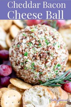 This easy Homemade Cheese Ball recipe with Bacon, scallions, bleu cheese and cheddar cheese is a festive appetizer for fall, the holidays or game day!