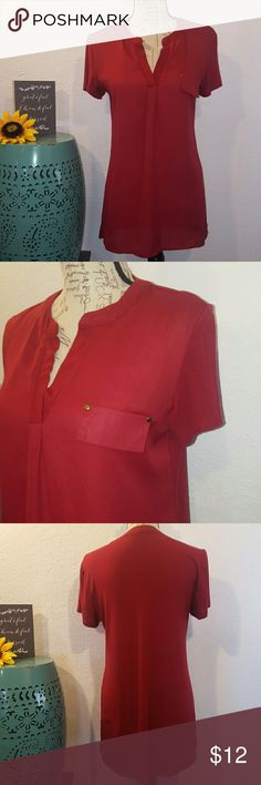 Ava James short sleeve maroon tunic sz Small Great condition, faux pocket on front, back is like a cotton tee, front is blouse material.  Size small ava James Tops Blouses