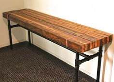 rustic/industrial bench DIY with butcher block & galvanized pipes Industrial Design Furniture, Rustic Furniture, Furniture Design, Diy Industrial Bench, Industrial Door, Industrial Living, Industrial Apartment, Industrial Bedroom, Galvanized Pipe Furniture