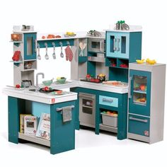 Grand Walk-In Wood Kitchen Play Area with 15 Piece Accessory Set, White Kids Wooden Kitchen, Kitchen Sets For Kids, Play Kitchen Sets, Toy Kitchen, Play Kitchens, Best Play Kitchen, Childrens Play Kitchen, Kid Furniture