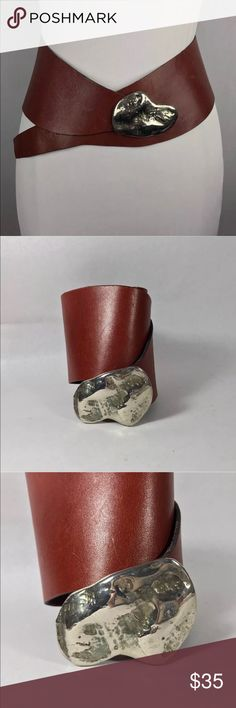 """Vintage wide leather belt silver Rock buckle Cool Vintage Belt No markings Brown leather with chunky silvertone buckle 3.5"""" at widest part Extra hole was punched  Buckle to shortest hole  27"""" Bucklet to longest hole  31""""   From clean, non-smoking home. Accessories Belts"""