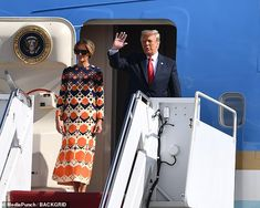 Donald Trump seen for the first time since leaving the White House with Melania | Daily Mail Online Donald Trump, Trump Is My President, First Lady Melania Trump, Presidents, Gucci, Dresses With Sleeves, Celebrities, Long Sleeve, Fashion