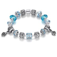 Online Shop Aliexpress Hot Sell European Style 925 Silver Crystal Charm Bracelet for Women With Blue Murano Glass Beads DIY Jewelry Silver Charm Bracelet, Silver Charms, Bracelet Set, Strand Bracelet, Silver Beads, Beaded Bracelet, Pandora Jewelry, Charm Jewelry, Diy Jewelry