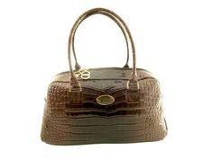 Crocodile patern calf, lack leather woman handbag.