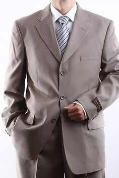 MENS SINGLE BREASTED 3 BUTTON TAUPE DRESS SUIT SIZE 38S PL-60213-TAU