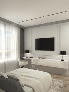 Minimalist grey bedroom in Moscow, Amstelcherry Design Luxury Bedroom Design, Master Bedroom Interior, Room Design Bedroom, Small Room Bedroom, Home Room Design, Bedroom Decor, Interior Design, Beige Living Rooms, Elegant Living Room