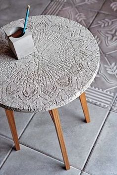 DIY Concrete and lace table