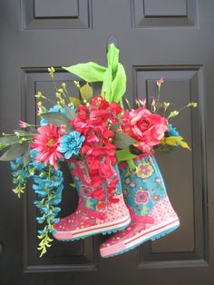 Spring Rain Boot Wreath Floral Rain Boot Wreath Rain by WallWishes