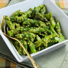 Easy Recipe for Barely-Cooked Asparagus with Basil Pesto; a perfect combination of spring and summer flavors!  [from Kalyn's Kitchen] #LowCarb #GlutenFree #Meatless