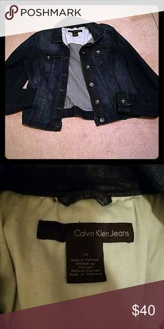 Calvin Klein Jeans women's Jean jacket Dark wash denim jacket. Button up. Great for a night out or an amazing country music event. Does have reach in pockets. Calvin Klein Jeans Jackets & Coats Jean Jackets