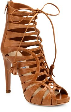 Prada Brown Strappy Leather LaceUp Ankle Boots