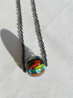 Black andRainbow Ball and  Chain Necklace by DonkeyandTheUnicorn