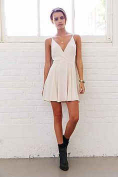 Sparkle & Fade Strappy Chiffon Skater Dress - Urban Outfitters Could definitely jazz it up a bit for winter formal
