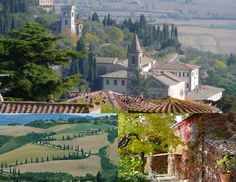 This photo collage shows some of my favourite images of Italy, the village below my villa, the winding roads of Tuscany, cypress trees bordering the curves of the famous road in the Val d'Orcia south of Montepulciano, reminds me of the wonderful red wines produced in this area ( nobile and Brunello), the vine covered house to me is a quintessential Tuscan farmhouse