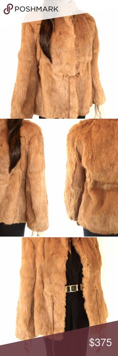 """Vintage 70's JACQUES SAINT LAURENT Paris Fur Coat VINTAGE // 70's Stunning JACQUES SAINT LAURENT vintage 1970's rabbit fur coat. Has a set of pockets with satin lining. Heavy duty hidden hook and eye closure. Does NOT have shoulder pads. Beautiful clean light orange satin fabric lining inside. Has cotton grey sweater waist band and sleeve band. Has a beautiful satin twisted rope drawstring sewn into waist of coat. Made in Korea. Marked size """" M """" but def fits like a small / medium. High…"""