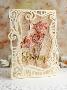 Hello friends, today I am showcasing two cards created with Swirl Frame die by Spellbinders (see the supply list below) - it works great fo. Shabby Chic Cards, Spellbinders Cards, Anna Griffin Cards, Shaped Cards, Easel Cards, Card Making Techniques, Mothers Day Cards, Card Maker, Creative Cards