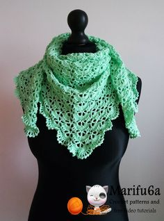 How to crochet spring triangle baktus wrap shawl free pattern tutorial b...