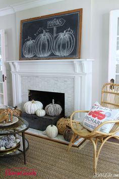 This fall chalkboard pumpkin mantel is stunning. A huge vintage chalkboard with pumpkin art and the hearth overflowing with neutral pumpkins. Fall Chalkboard, Vintage Chalkboard, Chalkboard Ideas, Chalkboard Sayings, School Chalkboard, Fall Home Decor, Autumn Home, Diy Home Decor, Autumn Fall