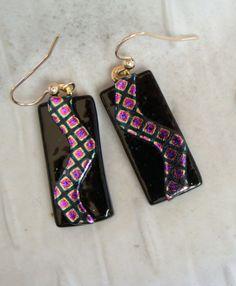 Dichroic Earrings Glass Earrings Dangle Pink Glass by myfusedglass, $18.00