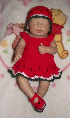 Baby Girl Crochet Diaper Dress Set   Hat by TJsCrochetCreations, $24.99